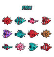fish cartoon concept icons vector image