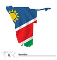Map of Namibia with flag vector image