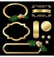 Set of gold luxury labels frames stars balls vector image