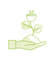 Silhouette hand with power cable plant with leaves vector image