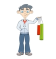 Man with shopping bags Teenager keeps purchases vector image