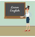 teacher in front of blackboard teaching student in vector image