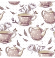 Seamless background with cups and pots vector
