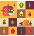 Trendy set of stylish flat vegetable icons vector image