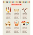 symbols of Jewish holiday purim infographics vector image
