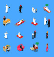 arab persons isometric set vector image
