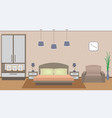 Elegant bedroom interior with furniture vector image