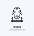 firefighter flat line sign flame protection thin vector image