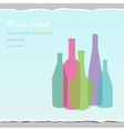 Transparent wine bottles on wrapped paper backgr vector image