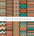 Tribal striped seamless patterns vector image