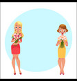 two beautiful blond women girls standing holding vector image