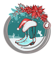 American cowboy boots and Santa red hat on vector image vector image