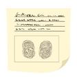 Copy fingers on fingerprint card cartoon icon vector image