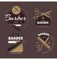 Color barber shop logo labels and badges vector image