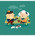 Old couple sitting on bench vector image