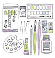art supplies for drawing sketches set with paints vector image