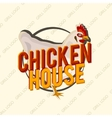 Creative logo design with realistic chicken vector image
