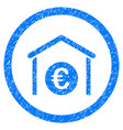 euro storage building rounded icon rubber stamp vector image