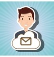 man cartoon email message vector image