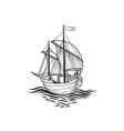 sailing ship retro transport marine background vector image
