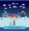 winter landscape with beautiful cartoon chibi girl vector image