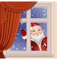 Santa Claus looking through window vector image