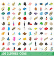 100 clothes icons set isometric 3d style vector image