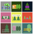 flat icons set parks vector image