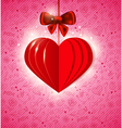 Valentine background with red paper heart vector image vector image