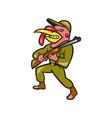 Turkey Hunter Carry Rifle Shotgun Cartoon vector image vector image