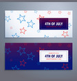 4th of july banners set in white and blue colors vector image