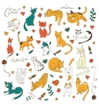Cute colorful set of hand drawn cats with twigs vector image