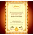 Golden Certificate Background vector image vector image