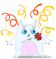 Cartoon cat with flower vector image