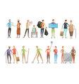 Flat Volunteer Characters Set vector image