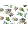 seamless pattern succulent flower plant vector image