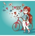 Young girl with a bicycle vector image