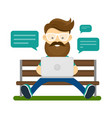 young hipster man with beard and glasses vector image