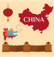 great wall of china beijing asia landmark brick vector image