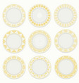 nine plates with gold pattern vector image vector image