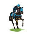 Horse Racing Equestrian Color Woodcut vector image