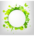 Speech Bubble With Green Blots And Butterfly vector image