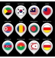 Map marker with flag-set fourteenth vector image