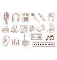 doodle audio related icon set vector image