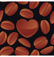 coffee grains and heart vector image