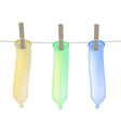 Condoms on clothesline vector image