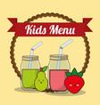 kids menu glass cup with juice fruit vector image