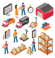 Logistics And Delivery Isometric Icons Set vector image