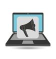 notebook computer megaphone speaker icon vector image