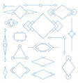 Set of blue linear graphic stylized frames vector image